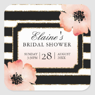 Ethereal Peach Magnolia Stripe Wedding BW Sticker