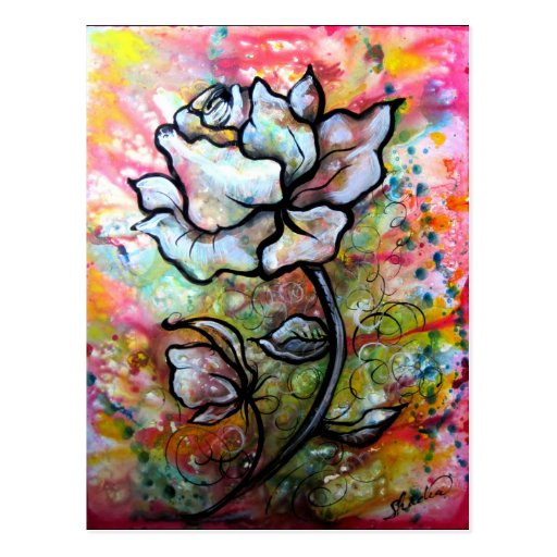 Ethereal Rose, A Floral Illustration by Shadia Postcards