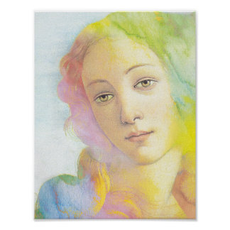 Ethereal Venus with Watercolor Hair Poster