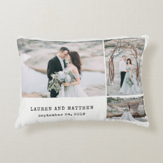 Ethereal Wedding 3 Photo Collage and Gray Stripes Decorative Cushion