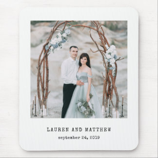 Ethereal Wedding | Photo and Typewriter Text Mouse Pad
