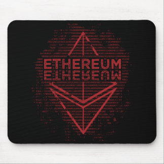 Ethereum Binary red on black mouse pad