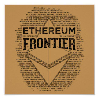 Ethereum Frontier poster (square black on gold)