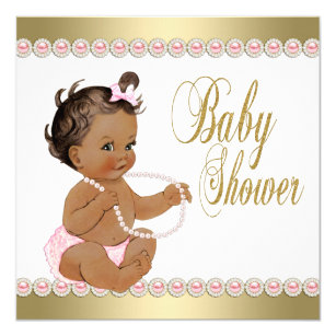 Ethic Girl Diamonds Pearls Pink Gold Baby Shower Card