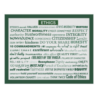 """""""Ethics Word Poster"""" Poster"""