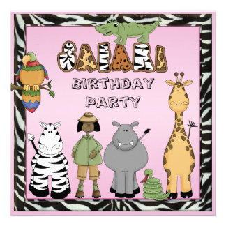 Ethinc Girl Safari Animals Birthday Party Personalized Invite