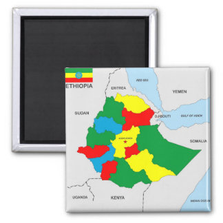 ethiopia country map flag square magnet