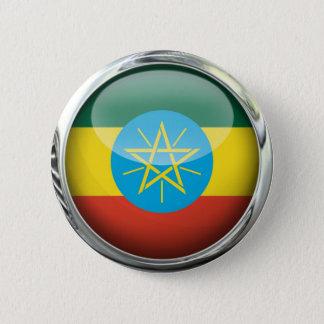 Ethiopia Flag Glass Ball 6 Cm Round Badge