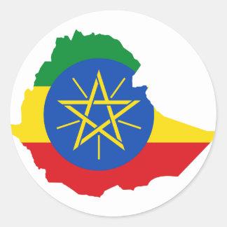 Ethiopia Flag Map ET Classic Round Sticker