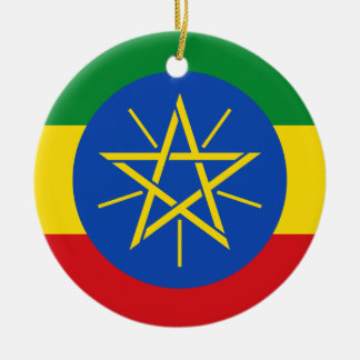 Ethiopia National World Flag Ceramic Ornament