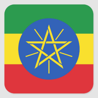 Ethiopia National World Flag Square Sticker