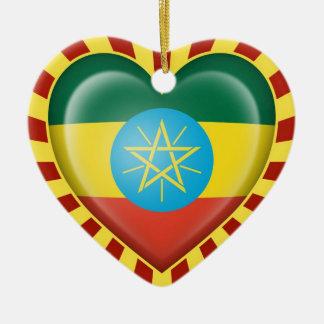 Ethiopian Heart Flag with Sun Rays Ceramic Ornament