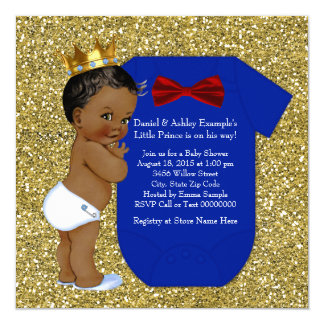 Ethnic African American Prince Baby Shower 13 Cm X 13 Cm Square Invitation Card