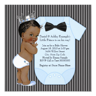 """Ethnic African American Prince Baby Shower 5.25"""" Square Invitation Card"""