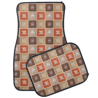 ethnic african pattern with Adinkra simbols Car Mat