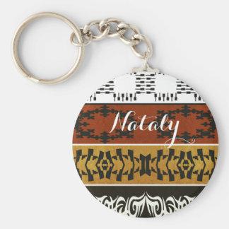Ethnic african tribal pattern. Name. Monogram. Key Ring