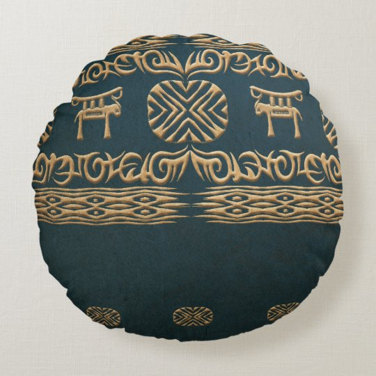 Ethnic african tribal pattern. round cushion