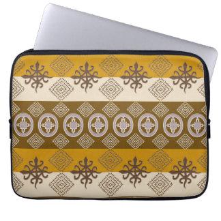 ethnic african tribal pattern with Adinkra simbols Laptop Sleeve