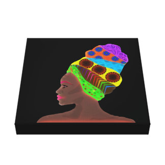 Ethnic African woman with a colorful turban Canvas Print
