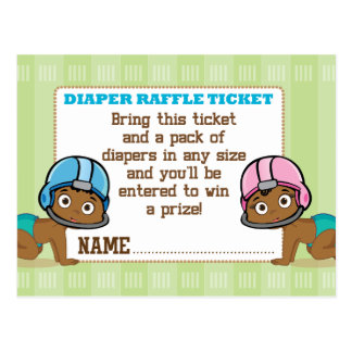 Ethnic Babies Football Reveal Diaper Raffle Ticket Postcard