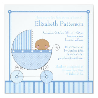 Ethnic Baby Boy in Carriage Baby Shower in Blue 13 Cm X 13 Cm Square Invitation Card