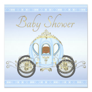 Ethnic Baby Boy in Prince Coach Blue Baby Shower Personalized Invitation