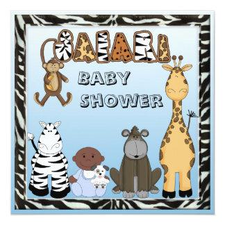 "Ethnic Baby Boy & Safari Animals Baby Shower 5.25"" Square Invitation Card"