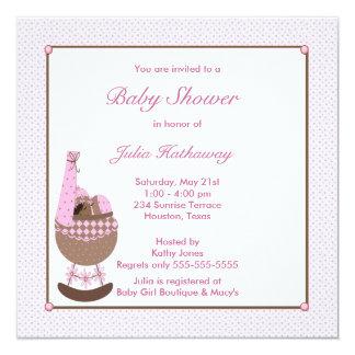 Ethnic Baby Girl Cradle Pink Shower Invitation