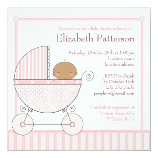 Ethnic Baby Girl in Carriage Baby Shower in Pink 13 Cm X 13 Cm Square Invitation Card