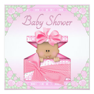 Ethnic Baby Girl in Gift Box and Roses Baby Shower Personalized Announcement