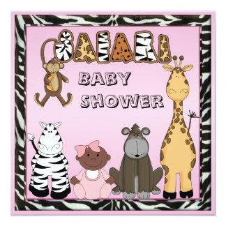 Ethnic Baby Girl & Safari Animals Baby Shower 5.25x5.25 Square Paper Invitation Card
