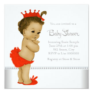 Ethnic Baby Girl Shower Red 5.25x5.25 Square Paper Invitation Card