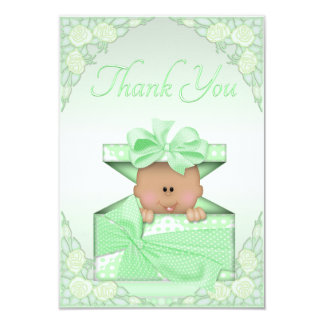 Ethnic Baby in Green Gift Box Roses Thank You 3.5x5 Paper Invitation Card