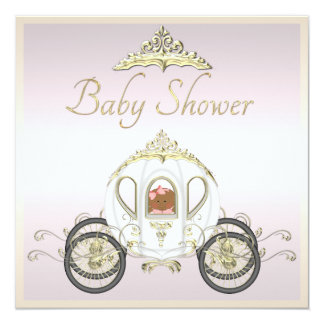 Ethnic Baby in Princess Coach Baby Shower 5.25x5.25 Square Paper Invitation Card