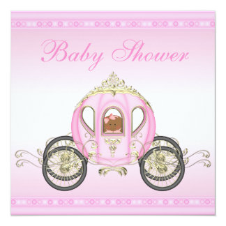 Ethnic Baby in Princess Coach Pink Baby Shower Personalized Invites