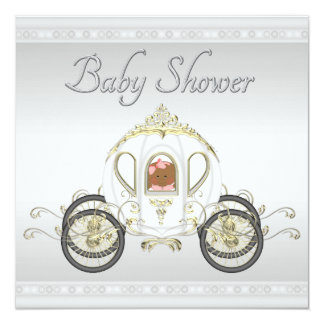 Ethnic Baby in Princess Coach Silver Baby Shower 13 Cm X 13 Cm Square Invitation Card