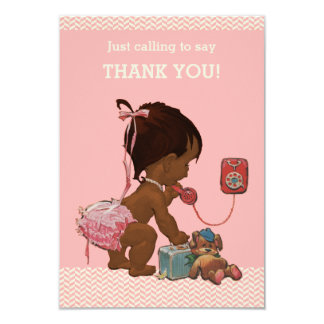 Ethnic Baby On Phone Baby Shower Thank You 3.5x5 Paper Invitation Card