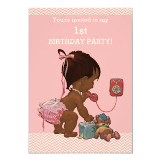 "Ethnic Baby on Phone Pink Chevrons 1st Birthday 5"" X 7"" Invitation Card"