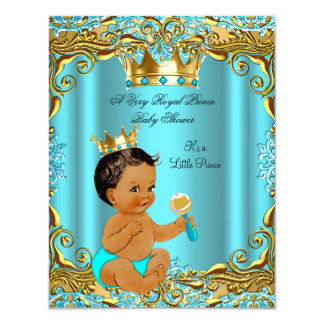 Ethnic Baby Shower Prince Gold Teal Aqua Card