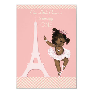 Ethnic Ballerina Eiffel Tower Chevron 1st Birthday 5x7 Paper Invitation Card