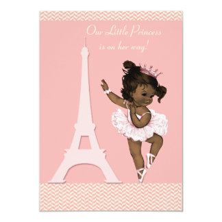 Ethnic Ballerina Eiffel Tower Chevrons Baby Shower 5x7 Paper Invitation Card