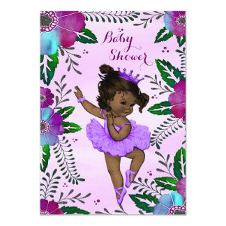 "Ethnic Ballerina Floral Watercolor Baby Shower 5"" X 7"" Invitation Card"