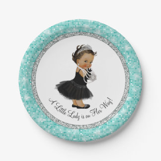 Ethnic Ballerina Pearl Little Lady Baby Shower Paper Plate