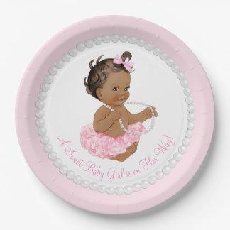 Ethnic Ballerina Tutu Pearl Baby Shower Paper Plate