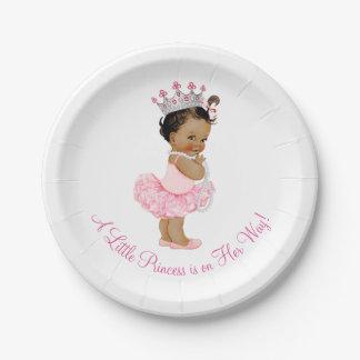 Ethnic Ballerina Tutu Pearls Princess Baby Shower 7 Inch Paper Plate