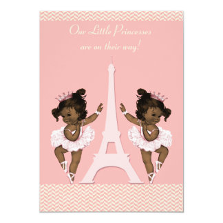 Ethnic Ballerina Twins Eiffel Tower Baby Shower Card