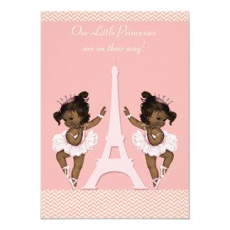 Ethnic Ballerina Twins Eiffel Tower Baby Shower 5x7 Paper Invitation Card