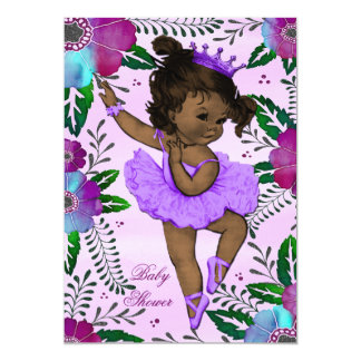 "Ethnic Ballerina Watercolor Floral Baby Shower 5"" X 7"" Invitation Card"