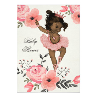 "Ethnic Ballerina Watercolor Flowers Baby Shower 5"" X 7"" Invitation Card"