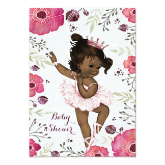 "Ethnic Ballerina Watercolor Poppies Baby Shower 5"" X 7"" Invitation Card"